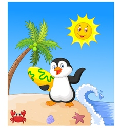 Summer background with penguin vector