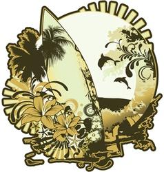 summer emblem with surfboard vector image