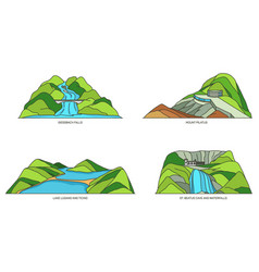 Switzerland landscapes or swiss travel icon set vector