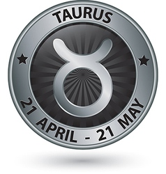 Taurus zodiac silver sign taurus symbol vector