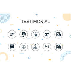 Testimonial trendy infographic template thin line vector