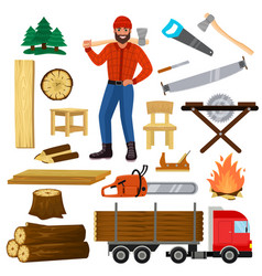 timber lumberman character and logger saws vector image