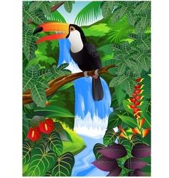 Toucan bird in the jungle vector