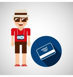 Tourist man with camera and credit card vector