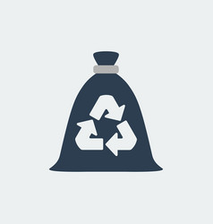 Trash bag garbage recycling and utilization icon vector