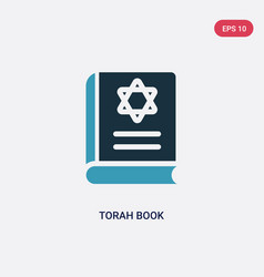 Two color torah book icon from religion concept vector