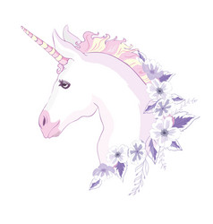 Unicorn head with mane and horn on floral vector