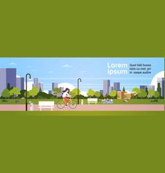Urban park outdoors woman cycling people relaxing vector