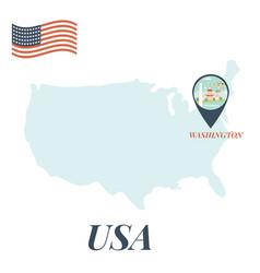 Usa map with washington pin travel concept vector
