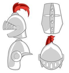 Varied defensive steel helmet knights the vector