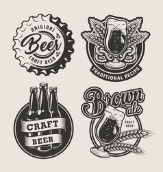 vintage brewing logos set vector image