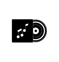 vinyl in case melody sound music silhouette style vector image
