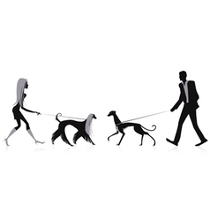 Walking dogs vector image vector image
