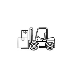 warehouse forklift truck with cardboard boxes hand vector image