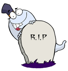 White Halloween Ghost Looking Around A Tombstone vector image