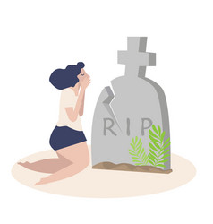 Woman crying front a grave vector