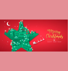 year papercut star winter city house vector image