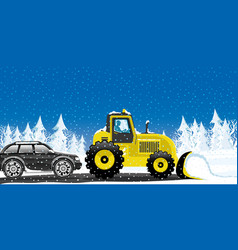Yellow tractor removes snow vector