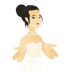 Young asian fiancee shrugging shoulders vector