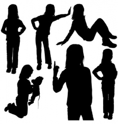child's silhouettes vector image vector image