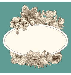 Frame with vintage flowers vector