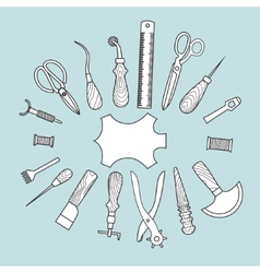 Leather working tools vector image