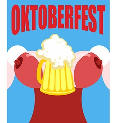 Woman in a corset with a mug of beer for Oktoberfe vector image vector image