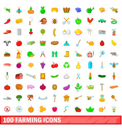 100 farming icons set cartoon style vector image