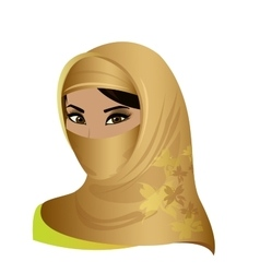 beautiful face of arabic muslim woman vector image