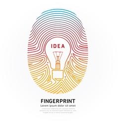 Fingerprint lightbulb color vector