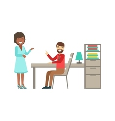 Man And Woman Colleagues Chatting Coworking In vector image vector image