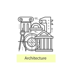 Modern thin line icons architecture vector image