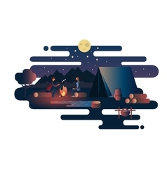 Night fire near the tent camp vector image