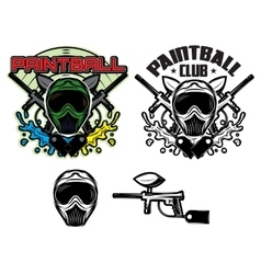 pattern with mask and gun for paintball vector image