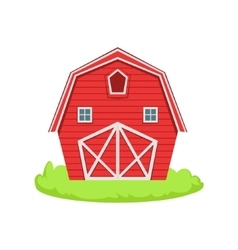 Red Wooden Barn Cartoon Farm Related Element On vector image vector image
