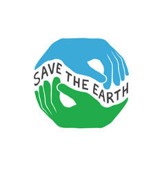 save the earth earth day concept logo design vector image