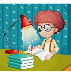 A boy studying vector image vector image