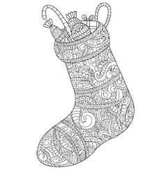 Christmas sock with gift coloring for vector image