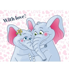Greeting card with love Lovers elephants on a vector image