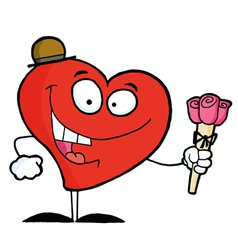 Heart Man Holding Roses vector image