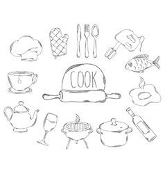 Large collection of line icons in hand drawn style vector image