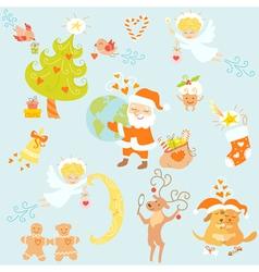 Love Christmas set vector image vector image