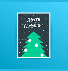 merry christmas card with xmas tree and balls vector image vector image