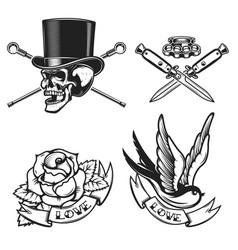 old school tattoo emblems swallow bird skull in vector image