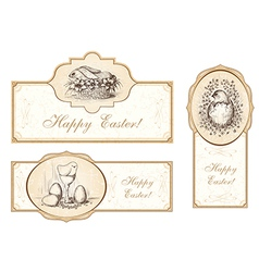 Set of vintage easter labels vector