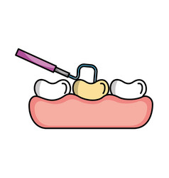 tooth care with dentistry hook vector image