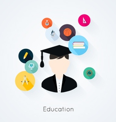 Education concept flat icons set vector image