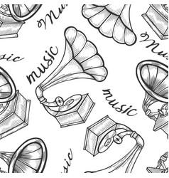 hand drawn gramophone vector image