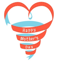 Happy Mothers day heart ribbon vector image vector image