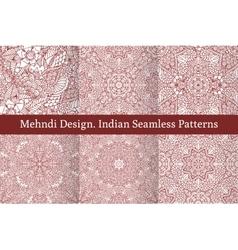 Mehndi henna design seamless patterns vector image vector image